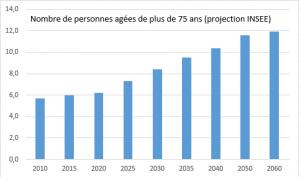 Nombre de personnes agees de plus de 75 ans previsions INSEE